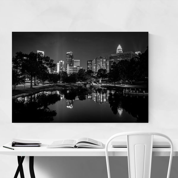Black & White Charlotte Skyline Art Print