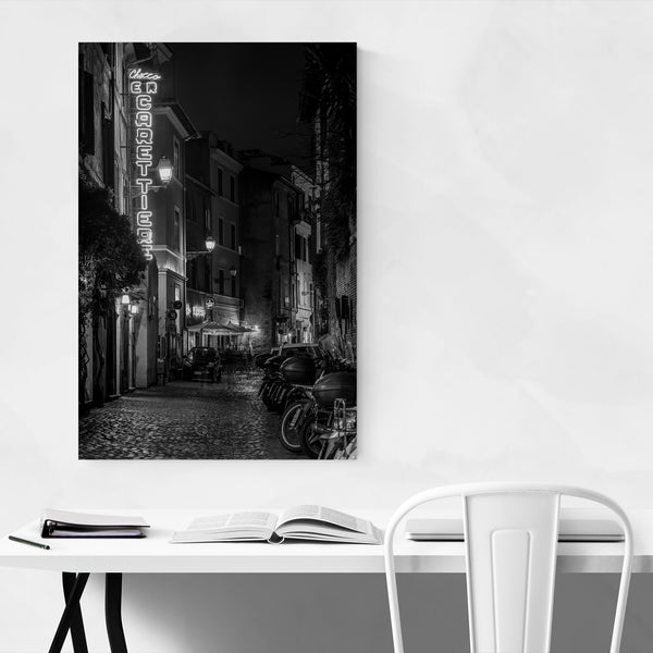 Black & White Rome Italy Urban Art Print