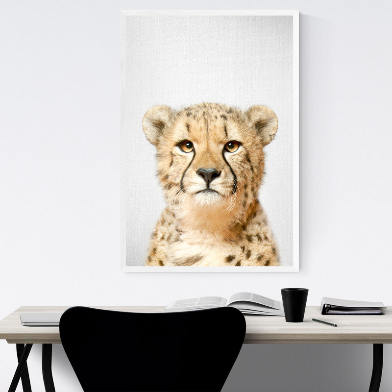 African Cheetah Peekaboo Animal Framed Art Print