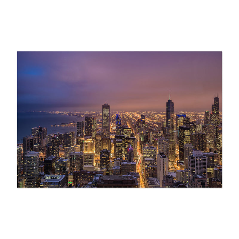 Chicago Illinois Night Skyline Art Print