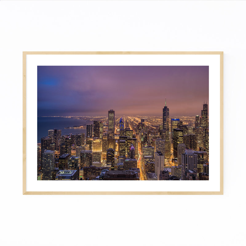 Chicago Illinois Night Skyline Framed Art Print