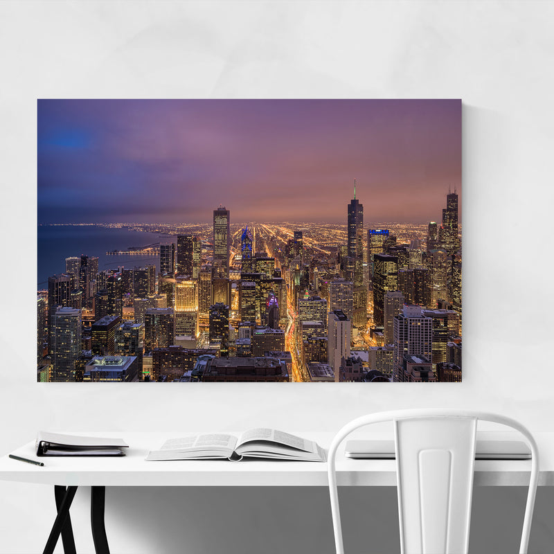 Chicago Illinois Night Skyline Canvas Art Print