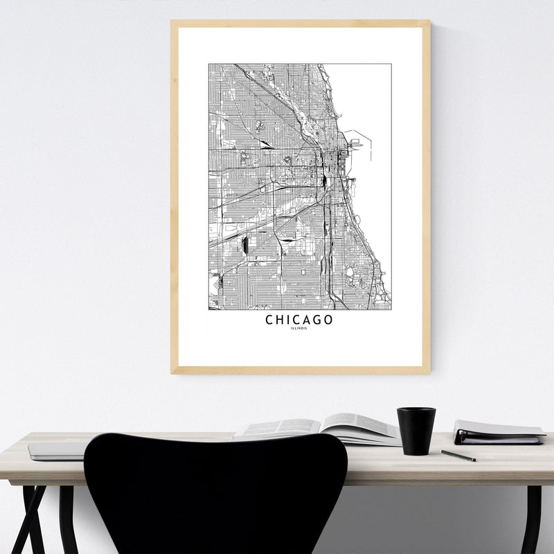 Chicago Black & White City Map Framed Art Print