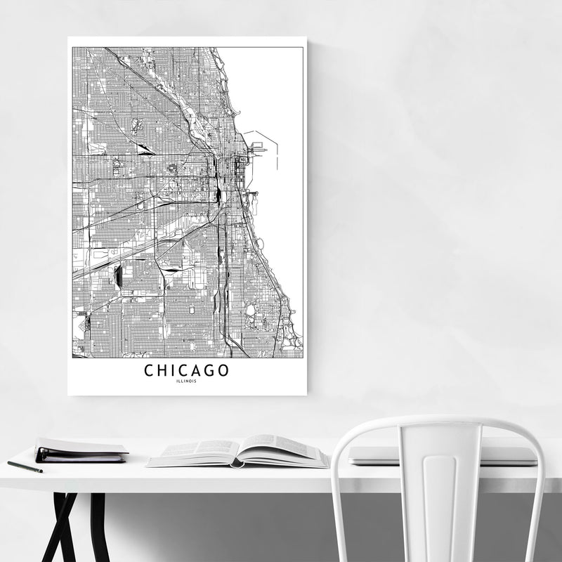 Chicago Black & White City Map Canvas Art Print