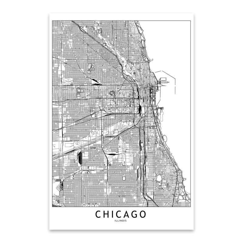 Chicago Black & White City Map Metal Art Print