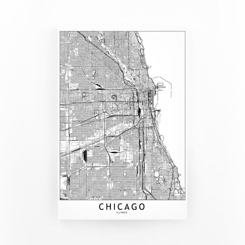 Chicago Black & White City Map Mounted Art Print