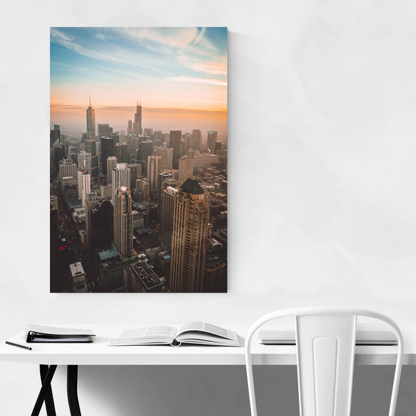 Chicago Skyline Cityscape Sunset Art Print