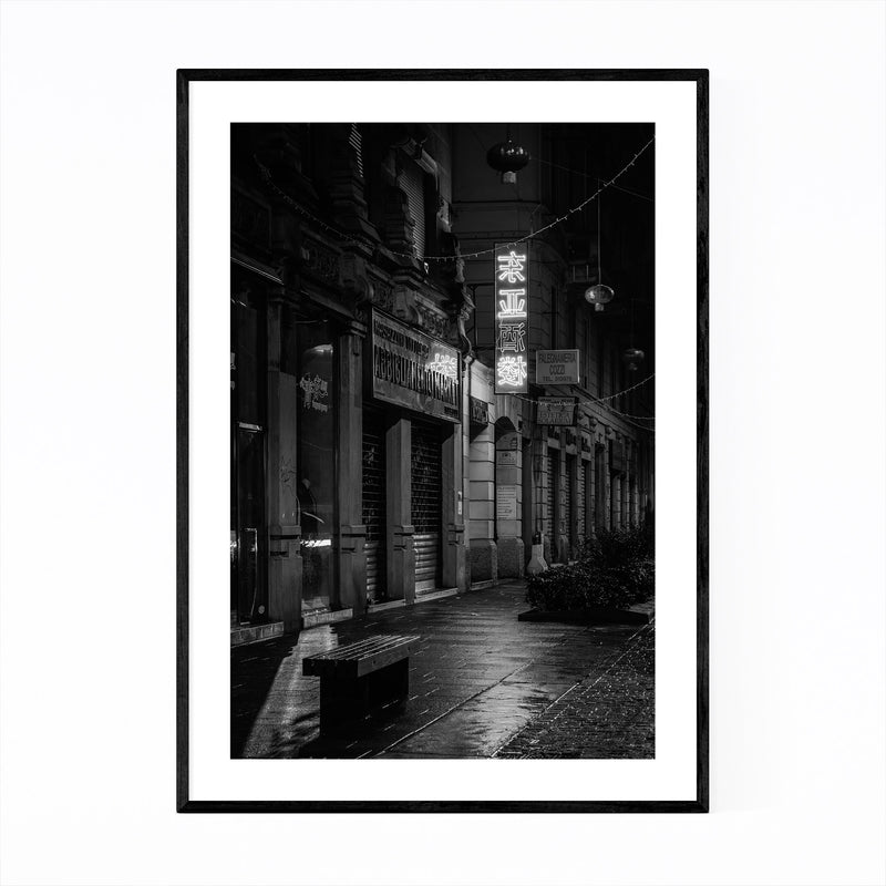 Black & White Milan Italy Sign Framed Art Print