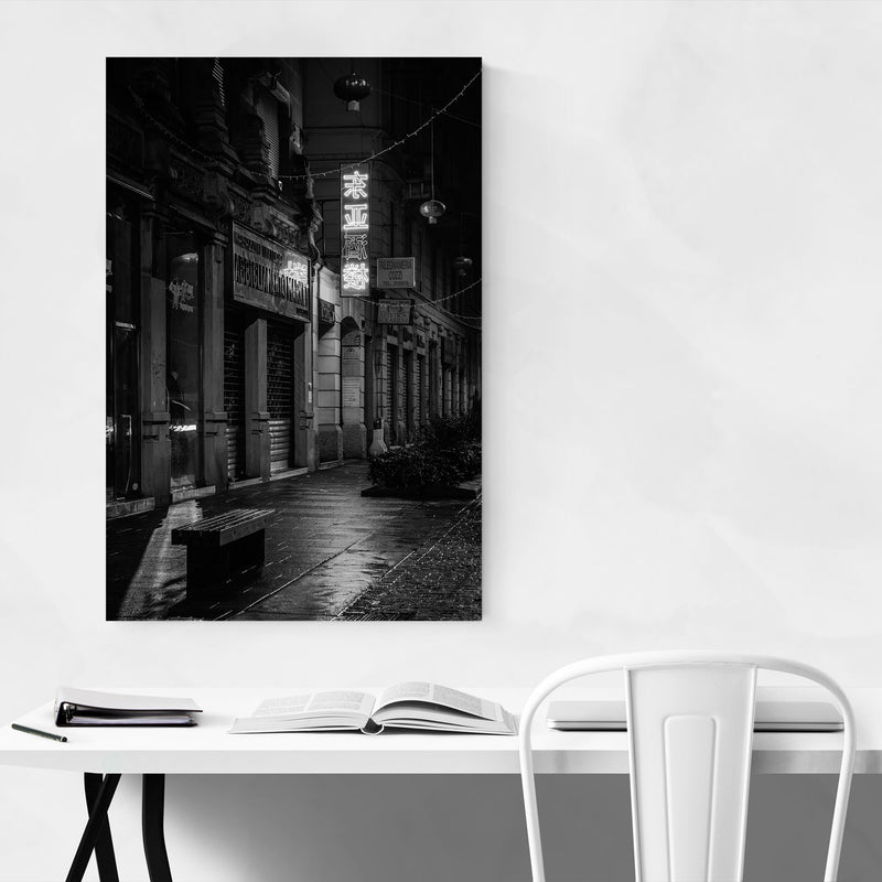 Black & White Milan Italy Sign Canvas Art Print