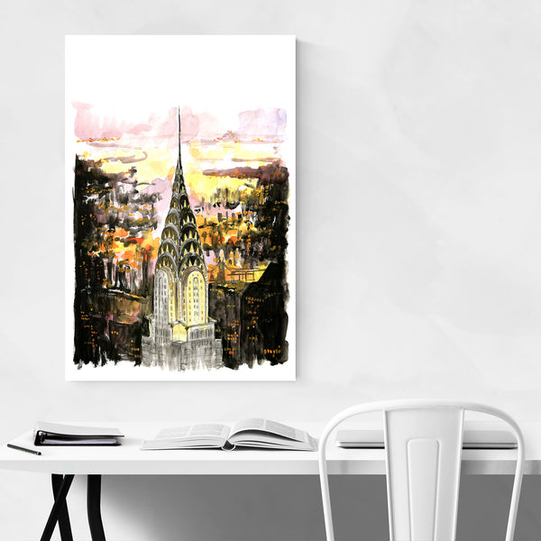 NYC Chrysler Building Sketch Art Print