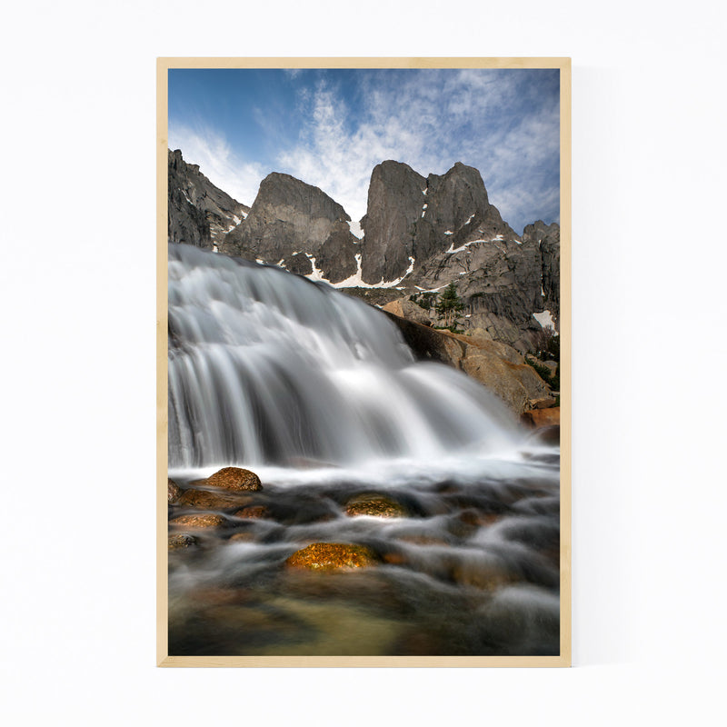 Wyoming Mountains Waterfall Framed Art Print