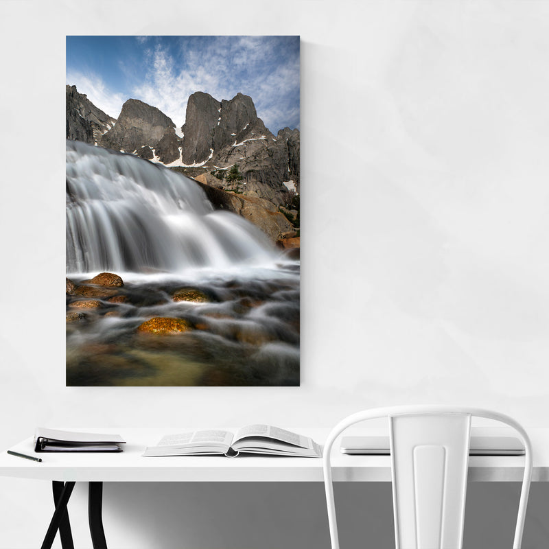 Wyoming Mountains Waterfall Canvas Art Print