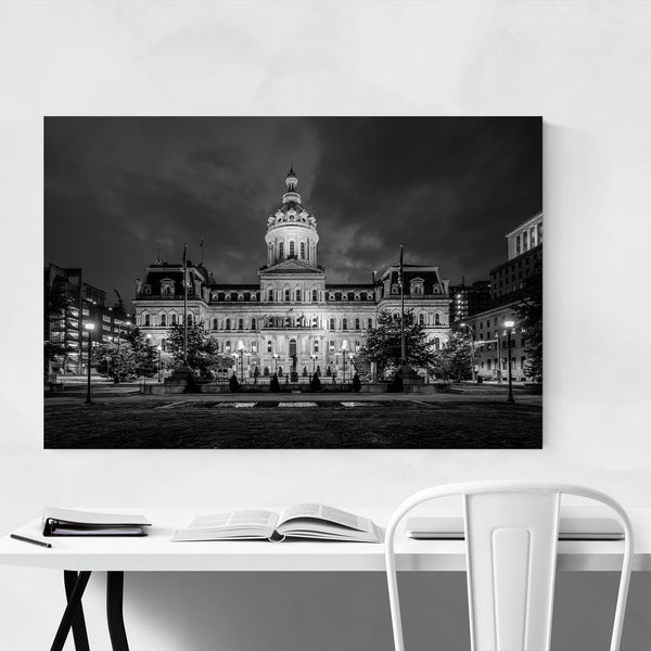 Black White Baltimore City Hall Art Print
