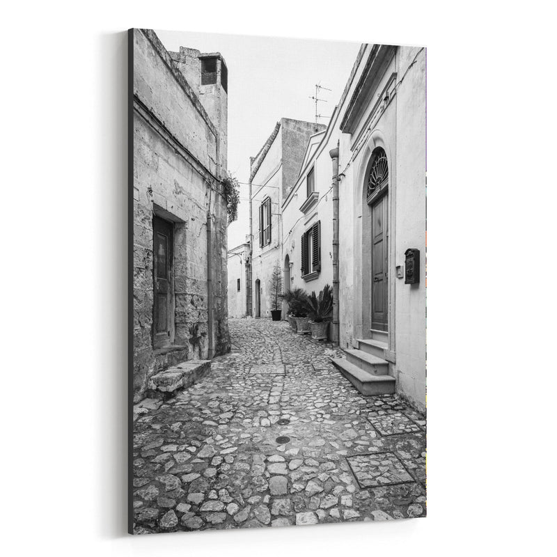 Black White Matera Italy Street Canvas Art Print