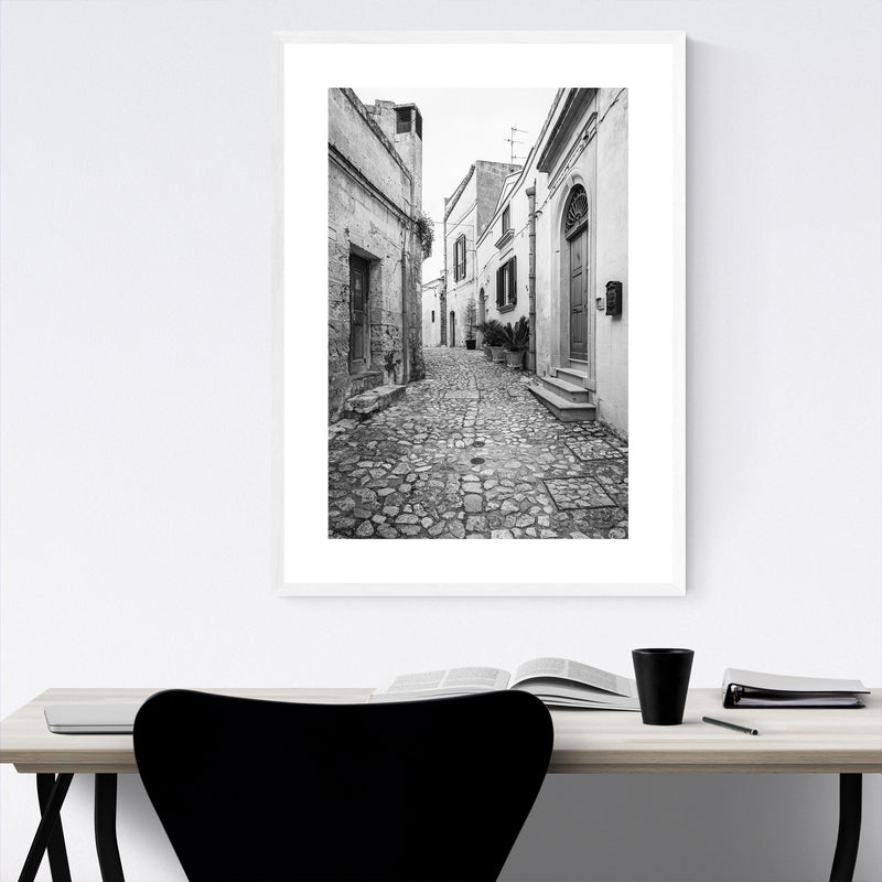 Black White Matera Italy Street Framed Art Print