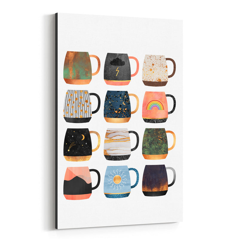 Cute Kitchen Decor Coffee Cups Canvas Art Print