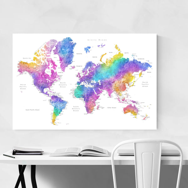 Colorful Watercolor World Map Art Print