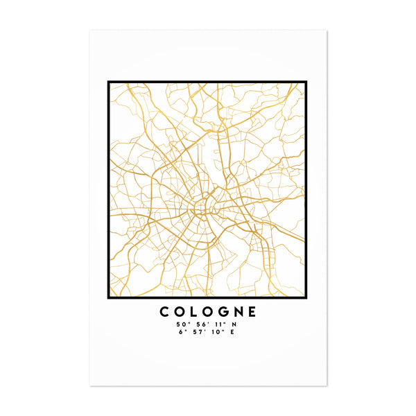Minimal Cologne City Map Art Print