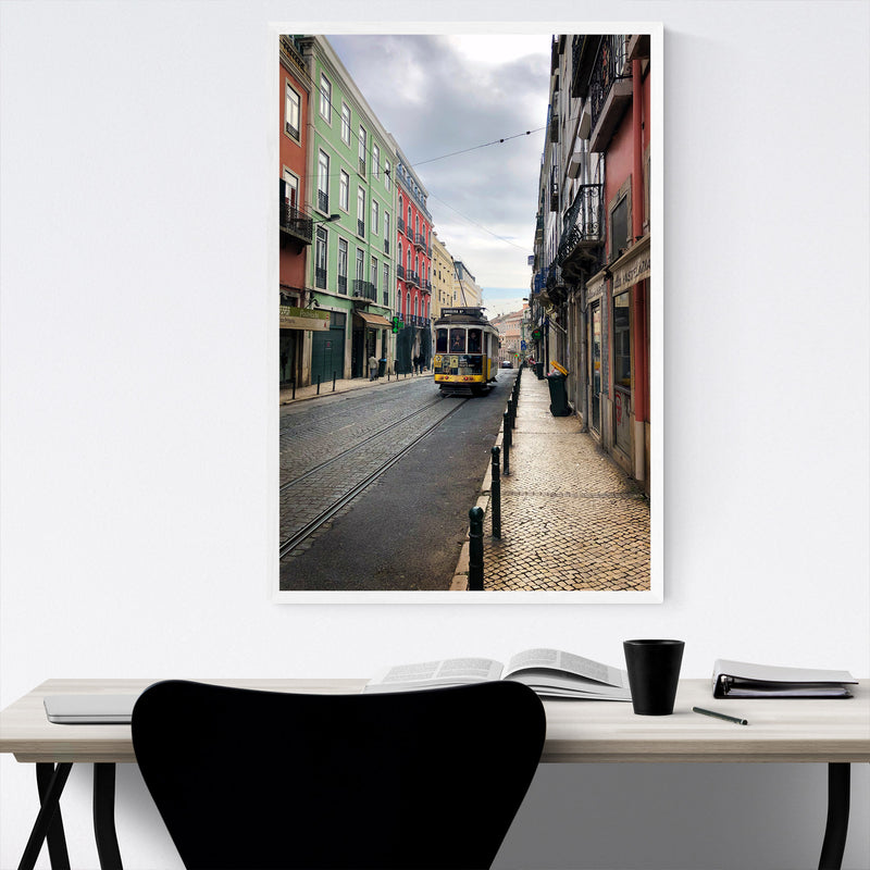 Colorful Streets Lisbon Portugal Framed Art Print
