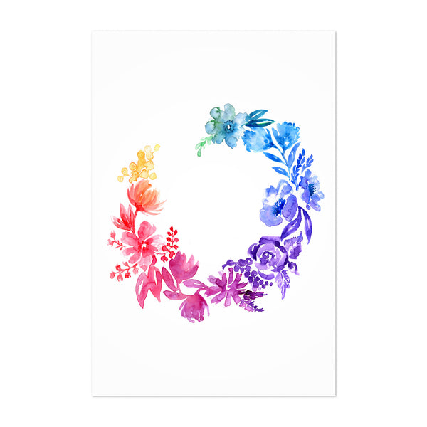 Watercolor Flower Wreath Art Print
