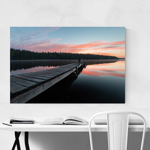 Sunset Reflection Lake Sweden Art Print