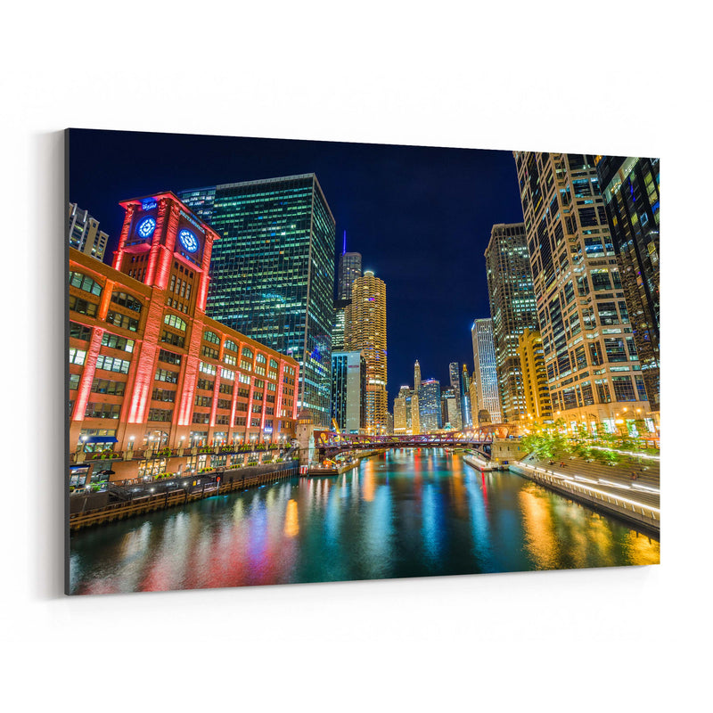 Chicago River Skyline Cityscape Canvas Art Print