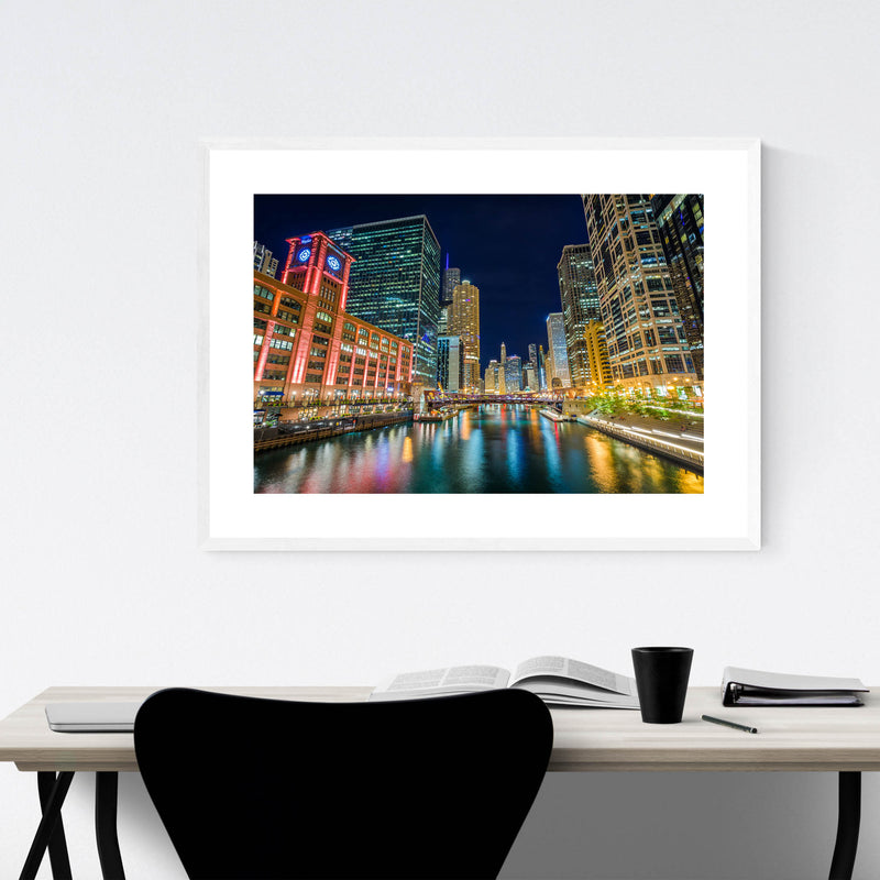 Chicago River Skyline Cityscape Framed Art Print