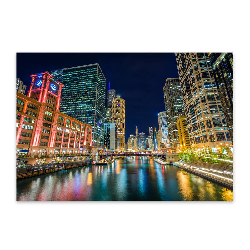 Chicago River Skyline Cityscape Metal Art Print