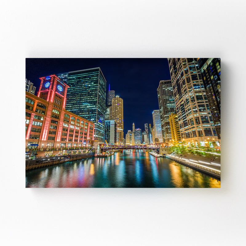 Chicago River Skyline Cityscape Mounted Art Print