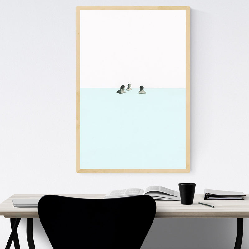 Abstract Geometric Swimming  Framed Art Print