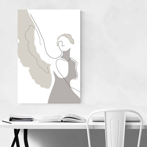 Minimal Angel Line Drawing Art Print