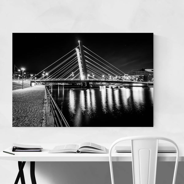 Helsinki Modern Bridge Night Art Print