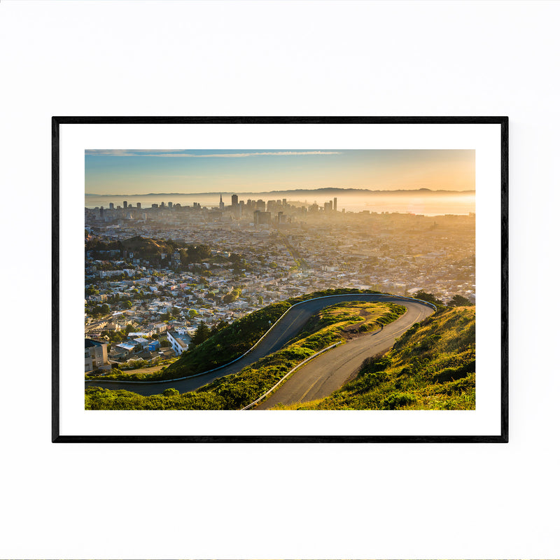 Twin Peaks San Francisco Skyline Framed Art Print