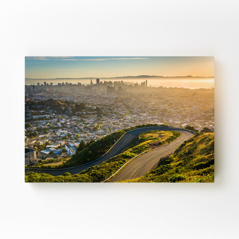 Twin Peaks San Francisco Skyline Mounted Art Print
