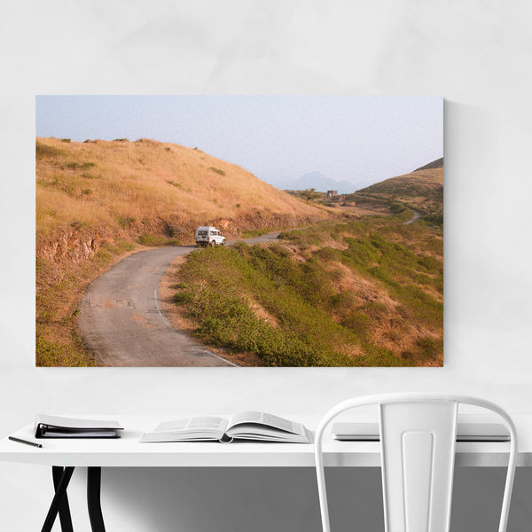Curvy Road Land Rover Car India Art Print