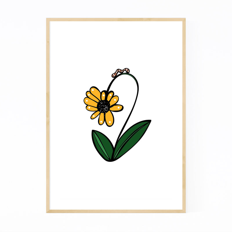 Floral Daisy Illustration Framed Art Print