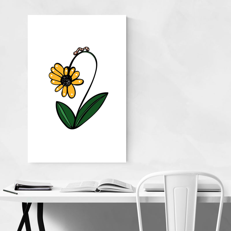 Floral Daisy Illustration Canvas Art Print