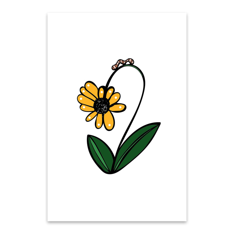 Floral Daisy Illustration Metal Art Print