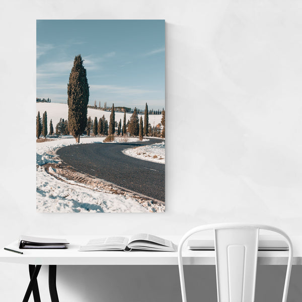 Tuscany Italy Snow Winter Nature Art Print