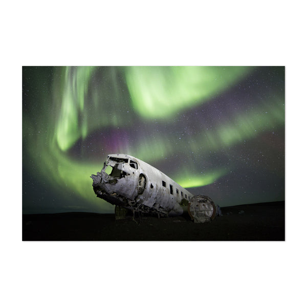 Abandoned Airplane Iceland Night Art Print