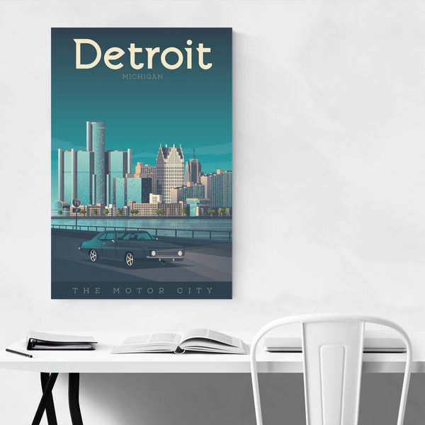 Retro Detroit Travel Print Art Print