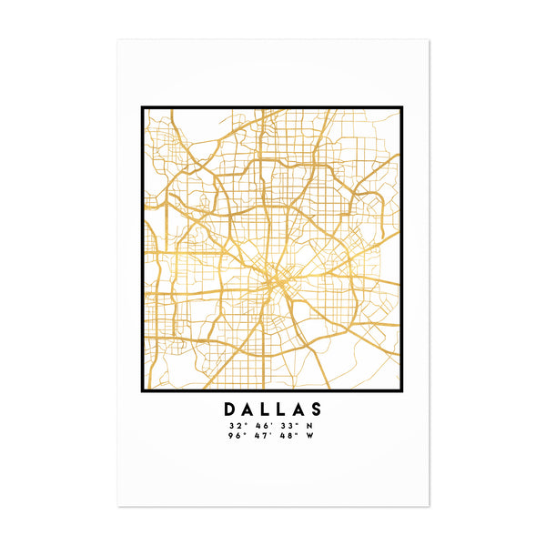 Minimal Dallas City Map Art Print