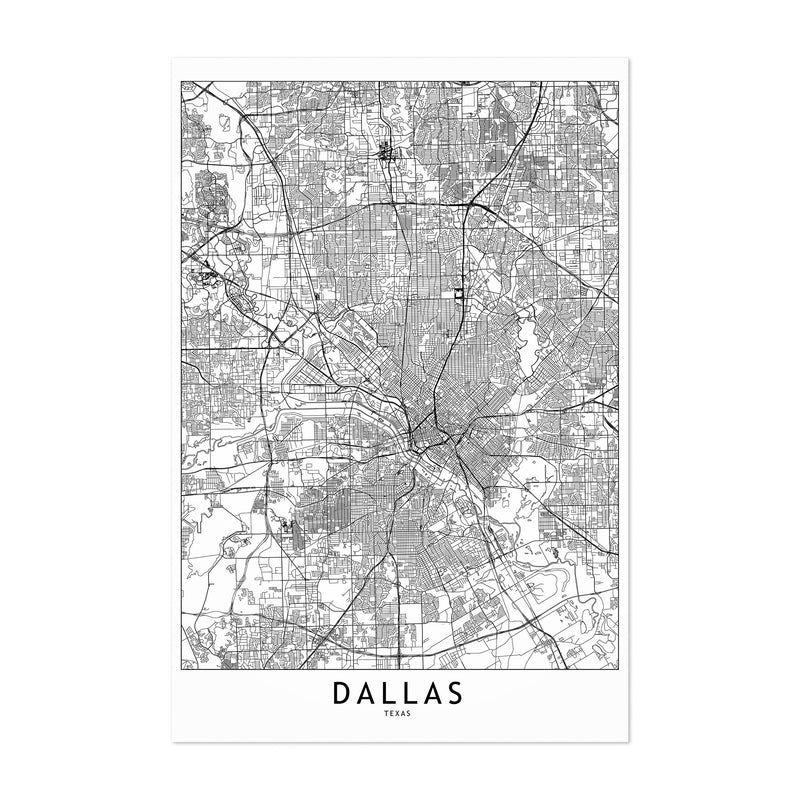 Dallas Black & White City Map Art Print