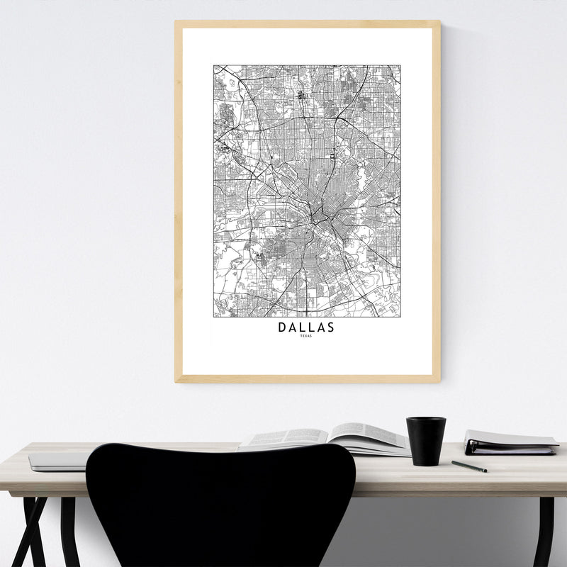 Dallas Black & White City Map Framed Art Print