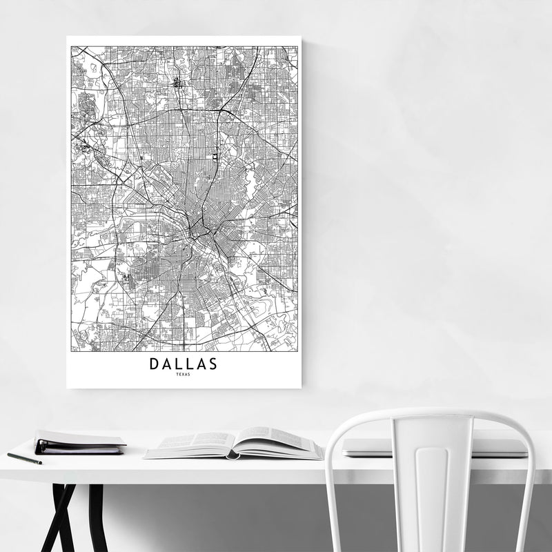 Dallas Black & White City Map Metal Art Print