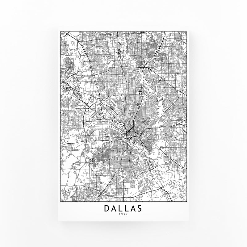 Dallas Black & White City Map Canvas Art Print