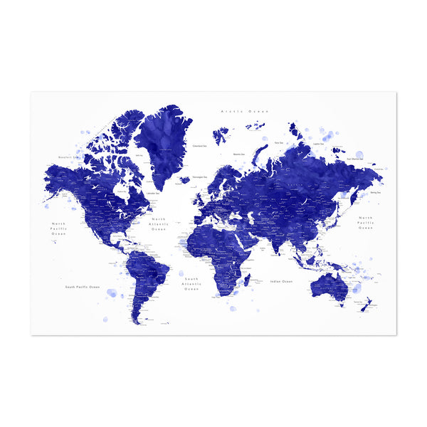 Blue Watercolor World Map  Art Print