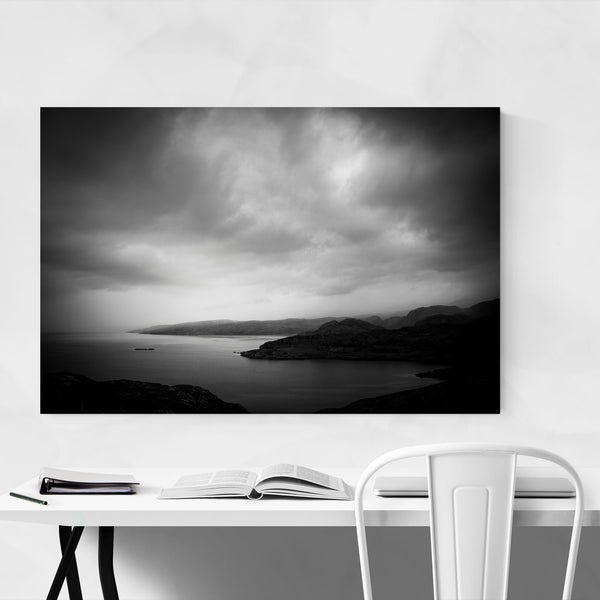 Black White Dark Lake Nature Art Print