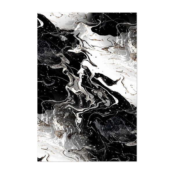 Black Marble Abstract Painting Art Print