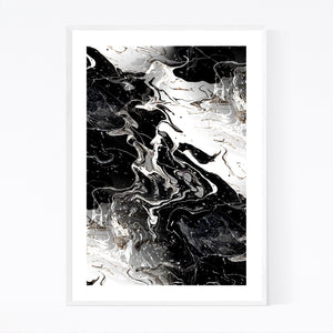 Black Marble Abstract Painting Framed Art Print